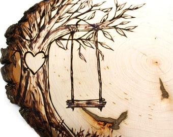 Tree Swing Country Design: Wood slice rustic theme wedding guest books. Personalized