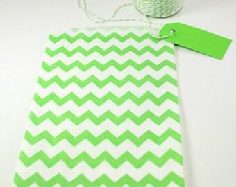 "Green Chevron Medium Paper Gift Bags, 5"" x 7.5"", Set of 10"