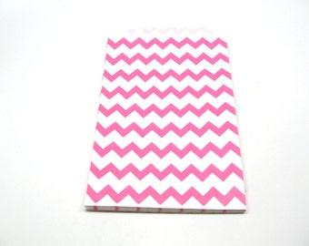 "Hot Pink Gift Bag, Pink Treat Bag, 5"" x 7.5"", Set of 10"