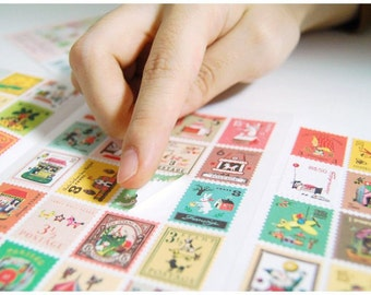 Francoise Postage Stamp Stickers  - Set of 80