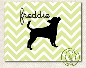 Custom Personalized Chevron Dog or Cat Silhouette Print 8x10