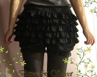 Black short bloomers S-M-L-XL -Lolita -Steampunk -Burlesque -Belle Epoque -Can Can -Wester -Circo -Ruffles -(Bitter & Sweet)