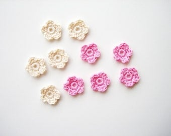 Crochet Flower Appliques, Tiny Small Cute Flowers, Decorative Motifs, Pale Pink & Ivory, Set of 10, Embellishments, Scrapbooking