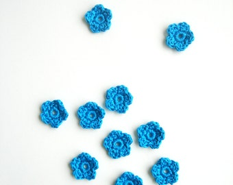 Crochet Flower Appliques, Tiny Small Cute Flowers, Decorative Motifs, Bright Turquoise Blue, Set of 10, Embellishments, Scrapbooking