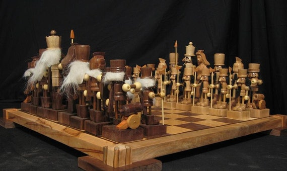 unique chess sets chess set nutcracker chess set on etsy custom carved chess 29893