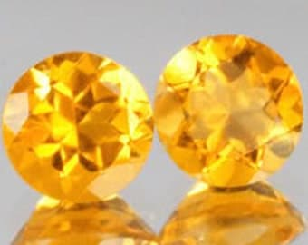 Brilliant Medium Golden Citrine Perfectly Matched Faceted Rounds 4 MM Priced Per Pair