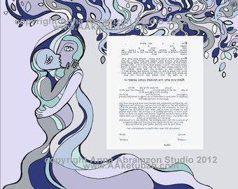 Cubist Tree Ketubah, interfaith ketubah, modern ketubah, katubahs, katubah, marriage certificate, Jewish wedding, ketubahs, Reform ketubah