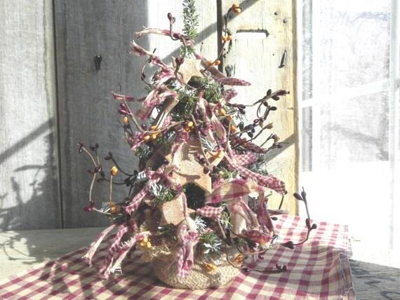 "Kitchen Decor Cinnamon Star Tree 12"" Primitive Tabletop Homespun Artificial Tree"
