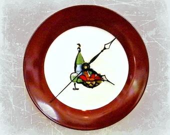Wine and Cheese Ceramic Plate Wall Clock Bar Clock Chardonnay