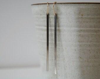 ombre sterling silver bar dangle earrings,  half oxidized long silver bar