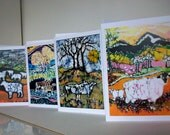 Farm Animals cards  -   Sheep, Cows, landscapes, pasture -  4 blank art cards