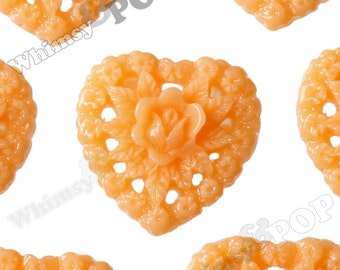 Orange Sorbet Rose Heart Flower Resin Cabochons, Heart Cabochons, Heart Shaped, 16mm (R2-056)