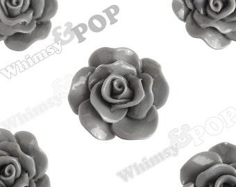 Large Gray Rose Cabochons, Flower Cabochons, Rose Flatback, 30mm x 28mm (R3-070)