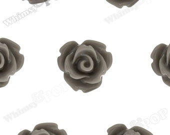 Gray Rose Cabochons, Flower Cabochons, 10mm Rose Cabochons, Flat Back Roses, 10mm x 6mm (R1-061)