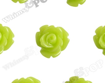 Lime Rose Cabochons, Flower Cabochons, Flower Cabs, 10mm Rose Cabochons, Flat Back Roses, 10mm x 6mm (R1-057)
