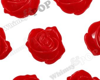4 - Red Super Large Rose Bud Rose Cabochons, Large Rose Resin Cabochons, 33mm Rose Cabochons, 33mm x 30mm (R5-067)