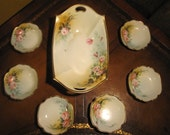 Hand-Painted Nippon nut set with Roses, seven pieces