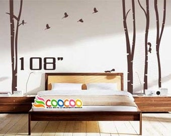 "Wall Decal, wall Stickers ,Tree Wall Decals ,Wall decals, Removable, Tree and Birds, 4 trees 108""  h"