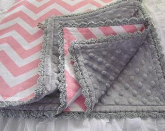 "Minky and Chevron Baby blanket- 32"" X 36"" pink chevron with  grey minky dots. Hand crochet trim. Made to order"