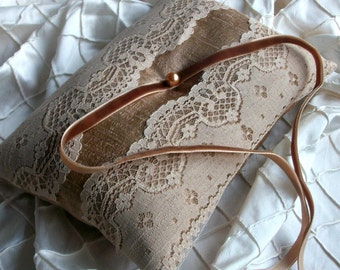 Wedding Cushion Ring Pillow in Copper Raw Silk  With a Strip of Vintage Tan/Beige Lace