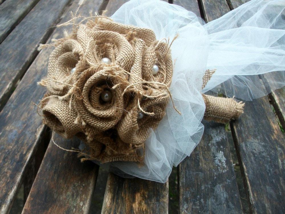 Bridal bouquet burlap bouquet rustic bridal bouquet rustic for How to make hessian flowers
