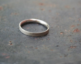 Oxidized Brushed Sterling Silver Simple 3 mm Thin Comfort Fit Band Men's Wedding Ring