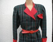 Lovely 2 PC Skirt Suit  Vintage / Jacket and Skirt / Wool / Poly / Black / Dark Green / Red / White / Size EUR42 / UK14
