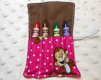 Monkey Around, Mini Crayon Roll Up Holder With 4 Pockets With Crayon