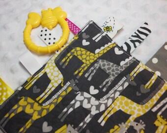"Giraffe Love Grey 8"" Crinkle Ribbon Sensory Minky Toy"