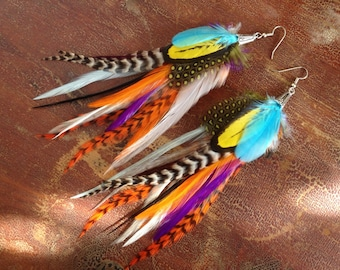 Unique Feather Earrings - Hodgepodge - Colorful Feather Earings Hooks or Clip On Earrings Feather Jewelry Sale