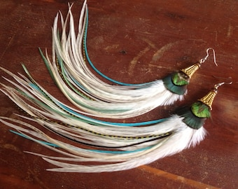 Long Feather Earrings Turquoise, Green, Cream Feather Jewelry, Summer Fashion Feather Earings