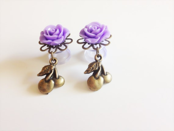 00g 0g Dangle Plugs Rose Gauged Earrings Cherry Plugs, 8mm Body Jewelry, 10 Colors to Choose From Dangly Flower Gauges, Ear Plugs