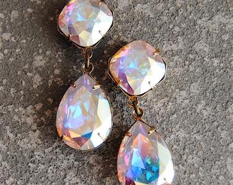 Aurora Borealis Earrings Swarovski Crystal Pastel Rainbow Post Dangle or Clip on Rhinestone Tear Earrings Gwenevere Mashugana