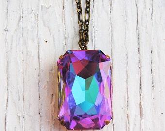 RARE Purple Pastel Rainbow Vintage Pendant Necklace Swarovski Crystal Duchess Rectangle Necklace Large Crystal Necklace Mashugana