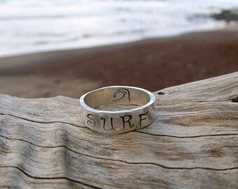SURF Ring, Sterling Silver Wide Band, Hand Stamped, Surfer Girl Gift Idea, Wave, Unisex, Mens Ring, Hawaii Beach Jewelry, Handmade Maui