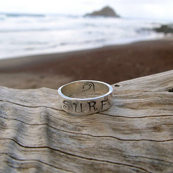 Surf Ring Sterling Silver Wide Band Hand Stamped Surfer