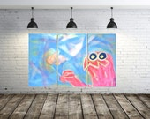SALE monster art Lovable adorable ice-cream sharing furry creature original triptych multipanel multi-panel wall art artwork