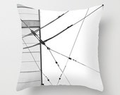 Decorative Photo Throw Pillow Cover Black White Geometric Lines Urban Minimalist Home Decor 18x18 Gift for Him Gift for Her Black White Grey - PopPopPhotography