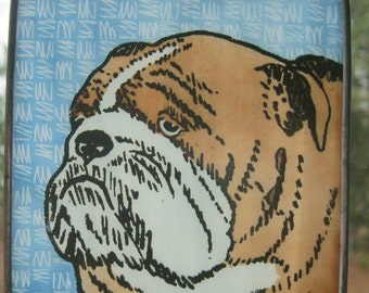Stained Glass Dog Suncatcher Bulldog on turq.   JRN052