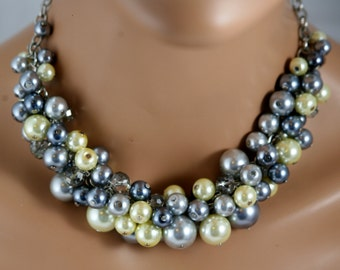 Grays and yellow chunky bib necklace  -bridesmaids necklace, wedding jewelry