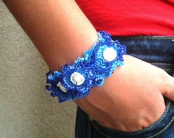 Blue bracelet Blue beaded cuff Blue jewelry Seed bead jewelry Birthday gift Handmade bracelet, Freeform beadwork, Gift for women