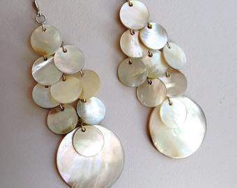 Shimmery Mother of Pearl Chandelier Earrings
