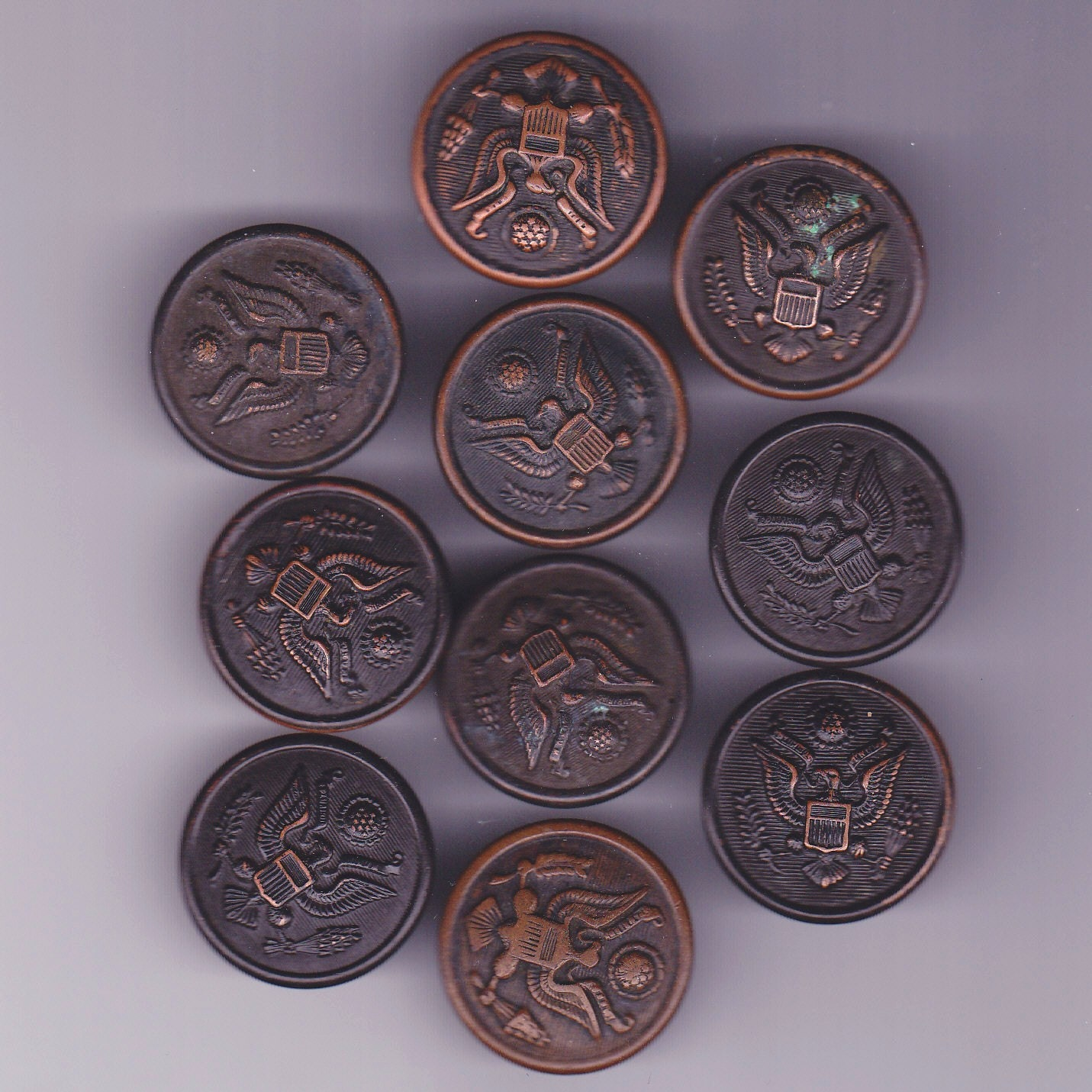 Ten Vintage Military Metal Eagle Buttons by antiquario on Etsy