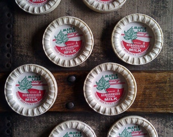 Vintage Milk Bottle Caps / Maple Leaf / Dairy