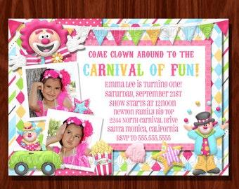 Carnival Circus Clown Birthday Invitation printable digital file