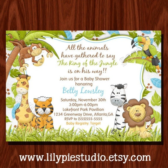 Smart image within free printable safari baby shower invitations