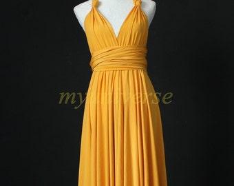 Yellow Infinity Dress Bridesmaid Dress Knee Length Wrap Convertible Dress Evening Cocktail Dress