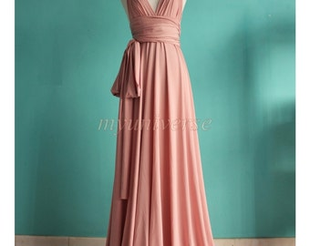 Dusty Pink Wedding Bridesmaid Dress Wrap Convertible Dress Peach Infinity Dress Maxi Dress