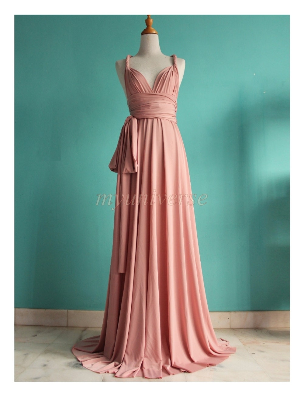 Dusty Pink Wedding Bridesmaid Dress Wrap Convertible By