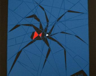 Black Widow, Spider Wall Art, Original Abstract Art, 12x12 Canvas, Acrylic Painting, Wall Art Decor